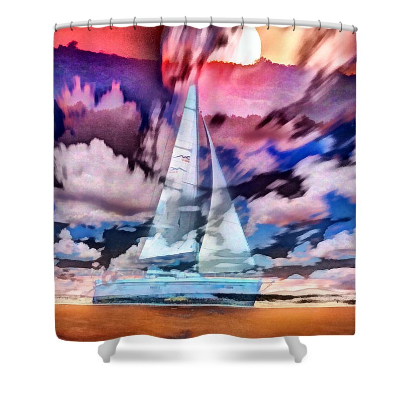 Sunset Shower Curtain featuring the photograph Painting Of Boats In Red Sunset Colors by Odon Czintos