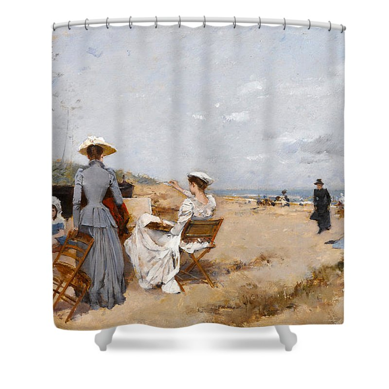 Francisco Miralles Shower Curtain featuring the painting Painting On The Beach by Francisco Miralles