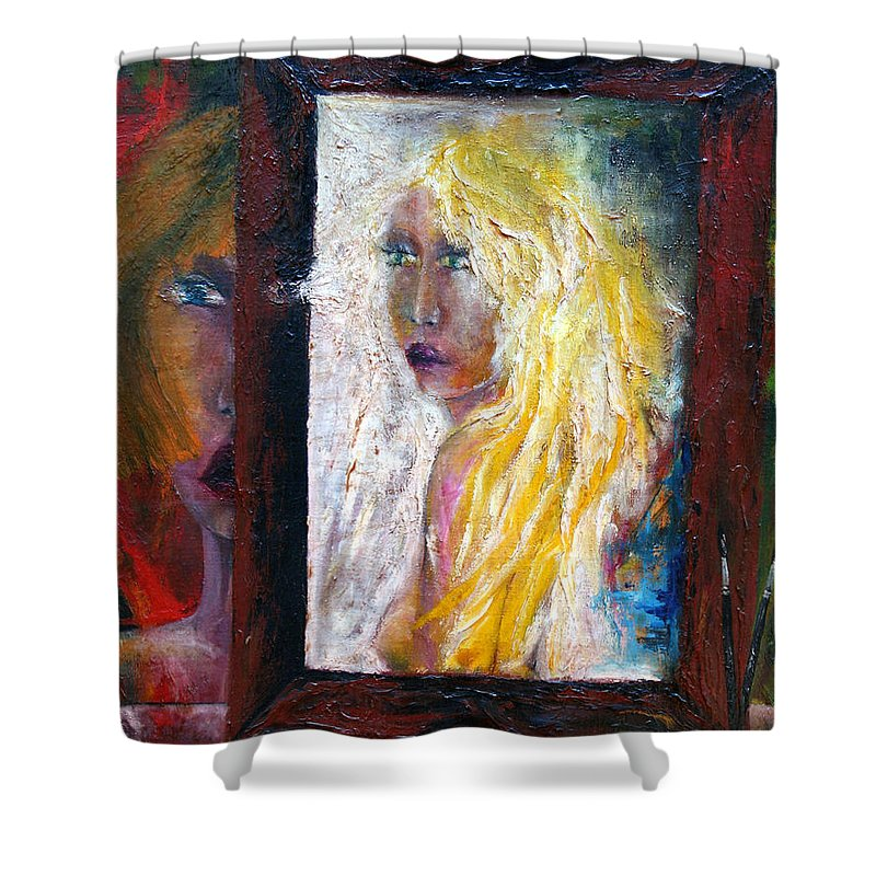 Imagination Shower Curtain featuring the painting Painting by Wojtek Kowalski