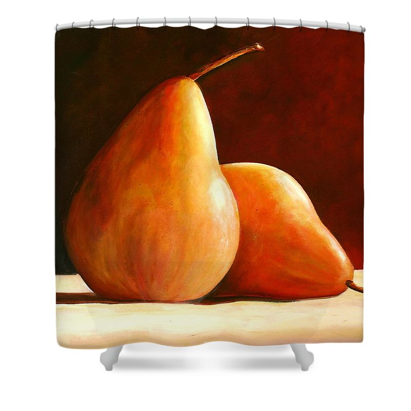 Pear Shower Curtain featuring the painting Pair Of Pears by Toni Grote