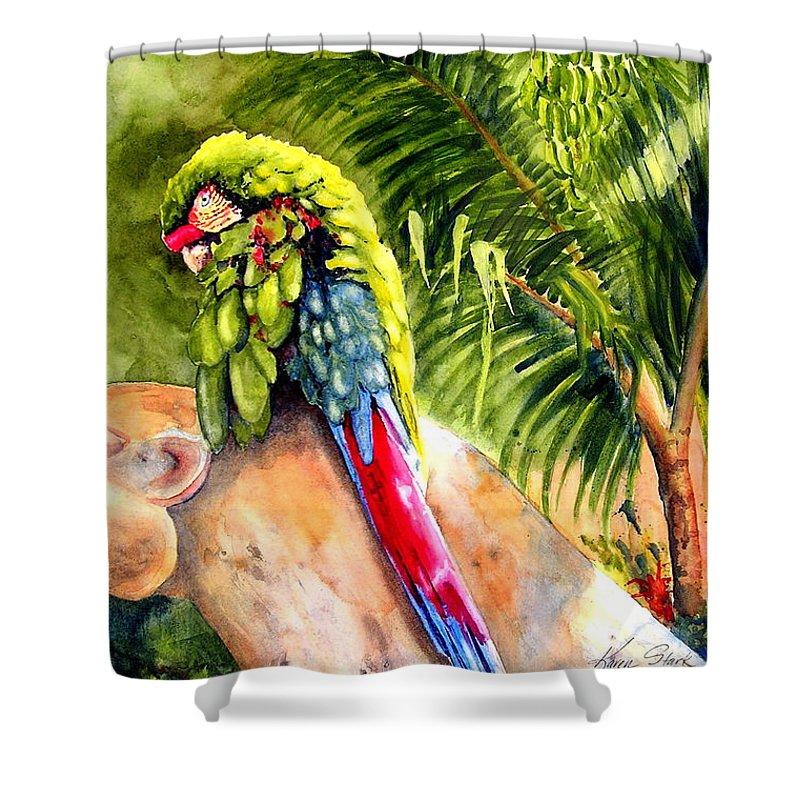 Parrot Shower Curtain featuring the painting Pajaro by Karen Stark