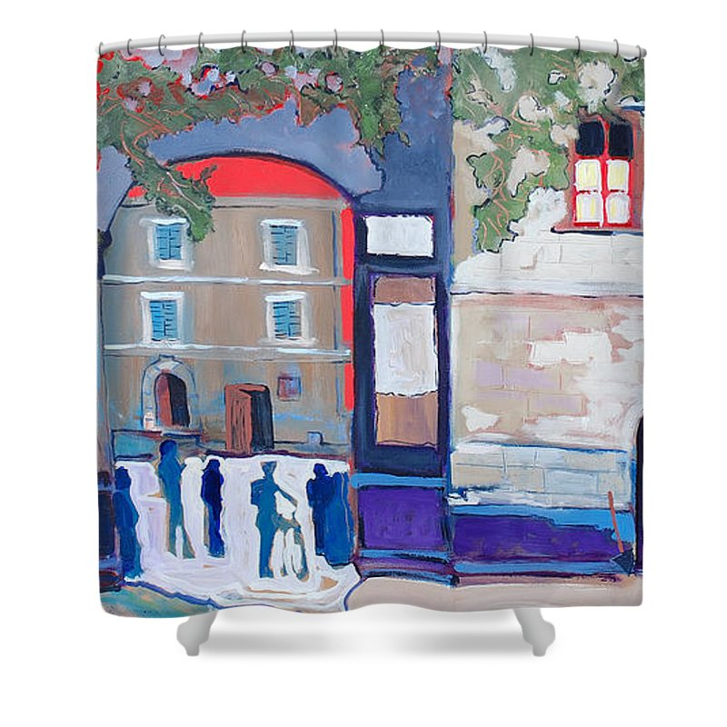 Village Shower Curtain featuring the painting Palazzo Di Villafranca by Kurt Hausmann