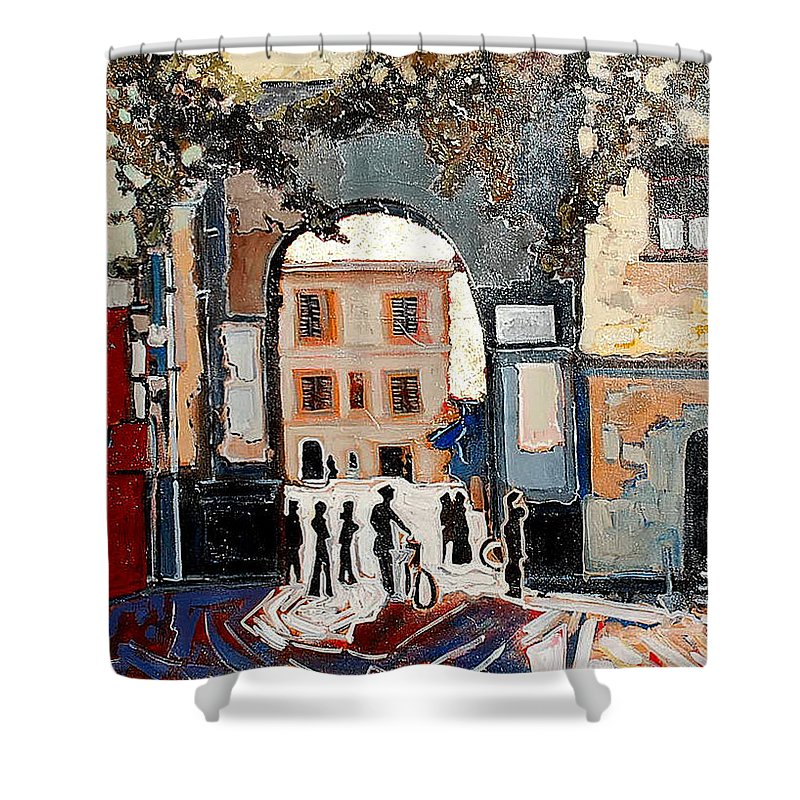 Tuscany Shower Curtain featuring the painting Palazzo Vecchio by Kurt Hausmann