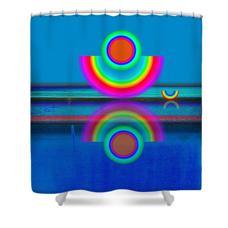 Reflections Shower Curtain featuring the painting Pale Blue Reflections by Charles Stuart