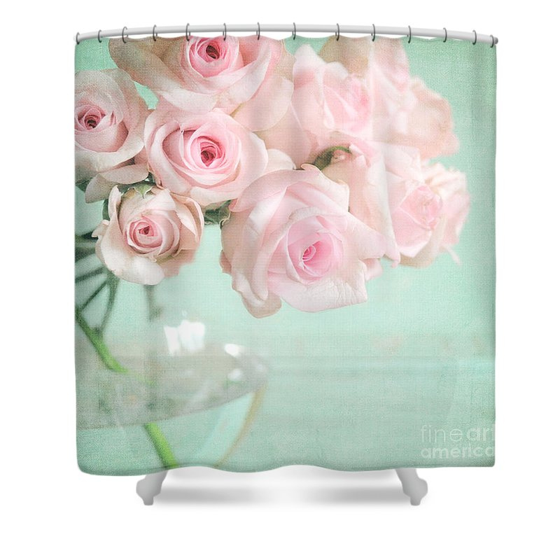 Pale Pink Roses Shower Curtain For Sale By Lyn Randle