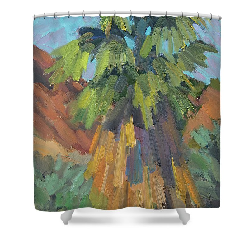 Palm Shower Curtain featuring the painting Palm At Santa Rosa Mountains Visitors Center by Diane McClary