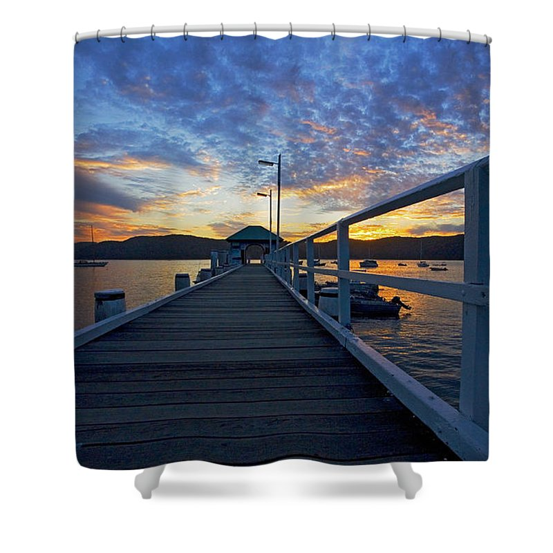 Palm Beach Sydney Wharf Sunset Dusk Water Pittwater Shower Curtain featuring the photograph Palm Beach Wharf At Dusk by Avalon Fine Art Photography