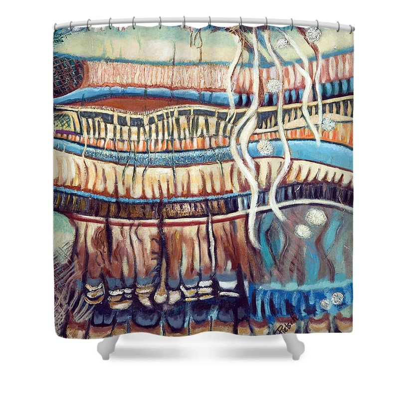 Abstract Shower Curtain featuring the painting Palm Contractions by Kerryn Madsen-Pietsch