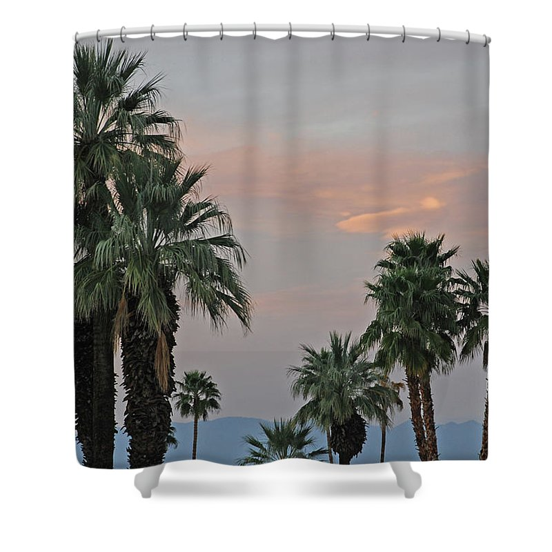 Palm Shower Curtain featuring the photograph Palm Desert Sunset by Carol Eliassen