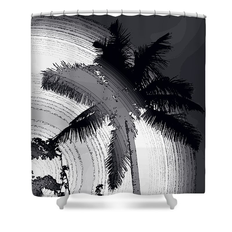 Palm Shower Curtain featuring the photograph Palm In Grey by Ian MacDonald