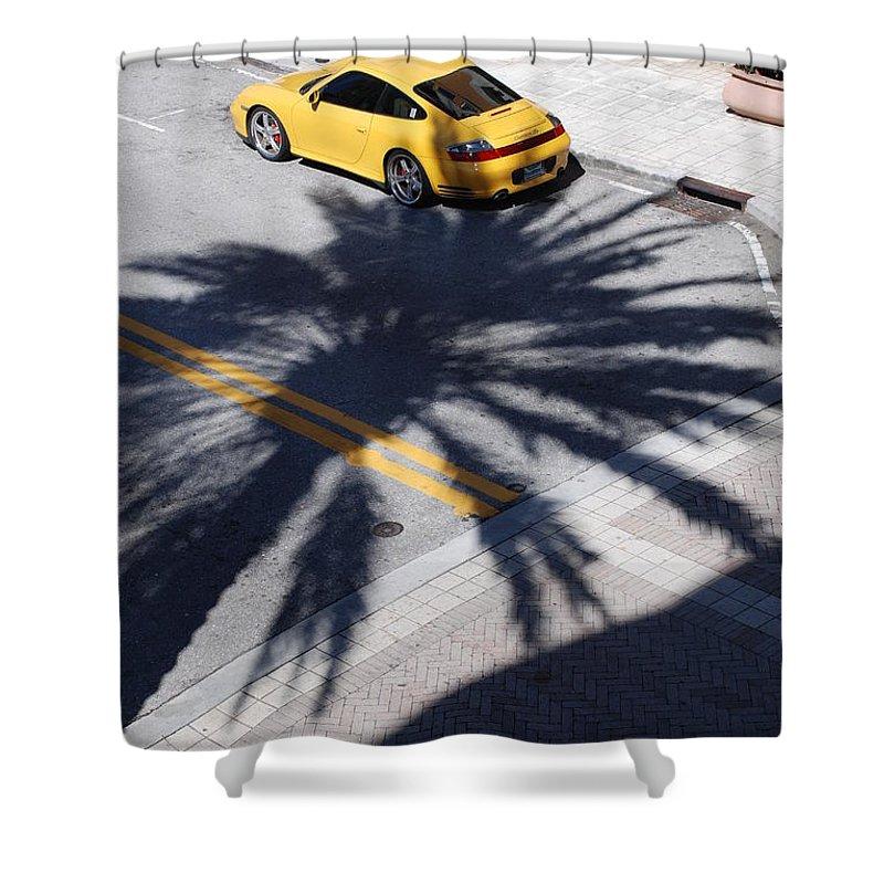 Porsche Shower Curtain featuring the photograph Palm Porsche by Rob Hans