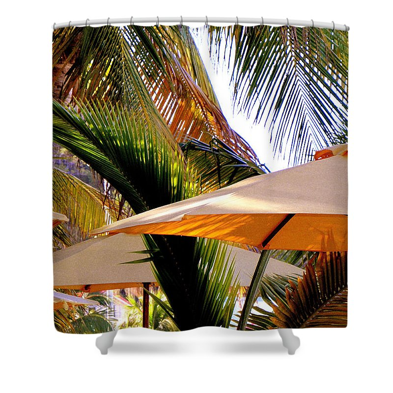 Umbrellas Shower Curtain featuring the photograph Palm Serenity by Karen Wiles