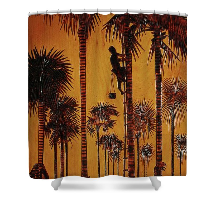 Wood Burning Shower Curtain featuring the drawing Palm Silhouette by Jack Harries