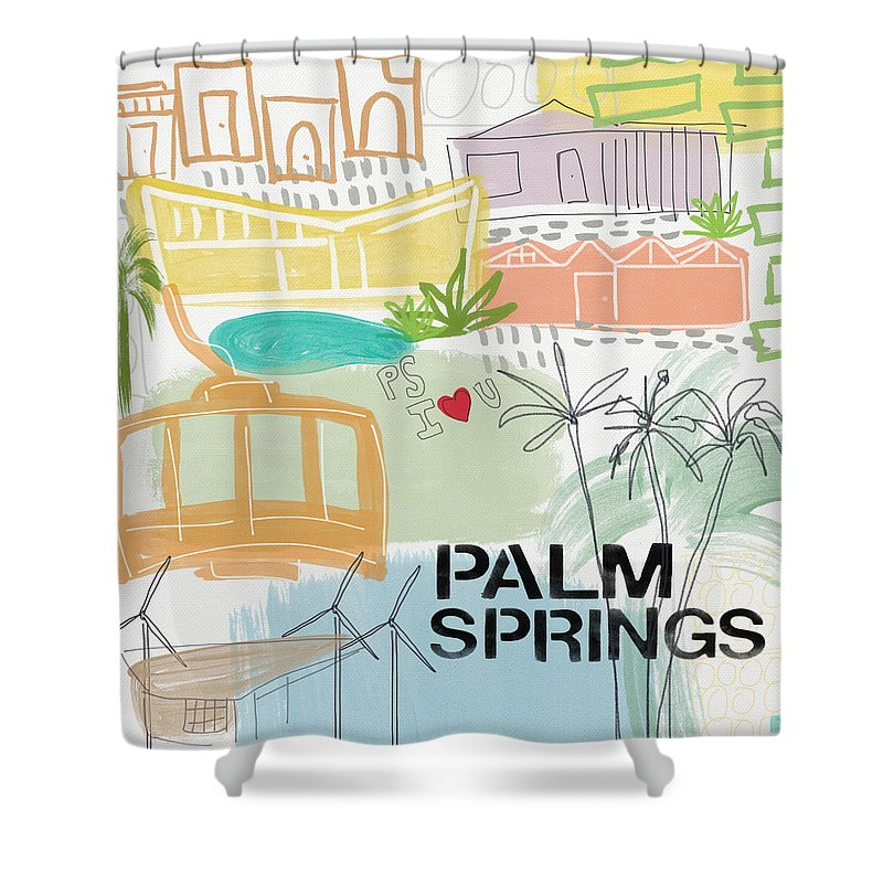 Palm Springs California Shower Curtain featuring the painting Palm Springs Cityscape- Art By Linda Woods by Linda Woods