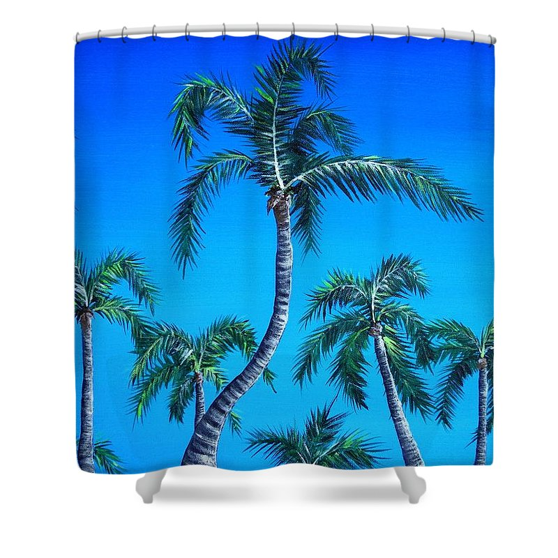 Palm Shower Curtain featuring the painting Palm Tops by Anastasiya Malakhova