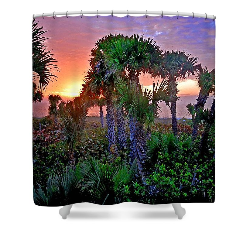 Palm Trees Shower Curtain featuring the painting Palm Tree Sunset by Michael Thomas