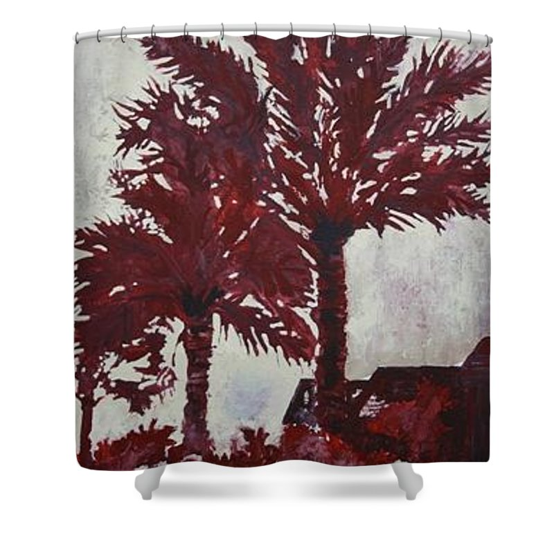 Palm Trees Shower Curtain featuring the painting Palm Trees Acrylic Modern Art Painting by Derek Mccrea