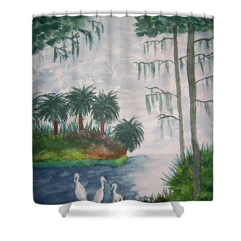 Landscape Shower Curtain featuring the painting Palmetto Bayou by B Kathleen Fannin