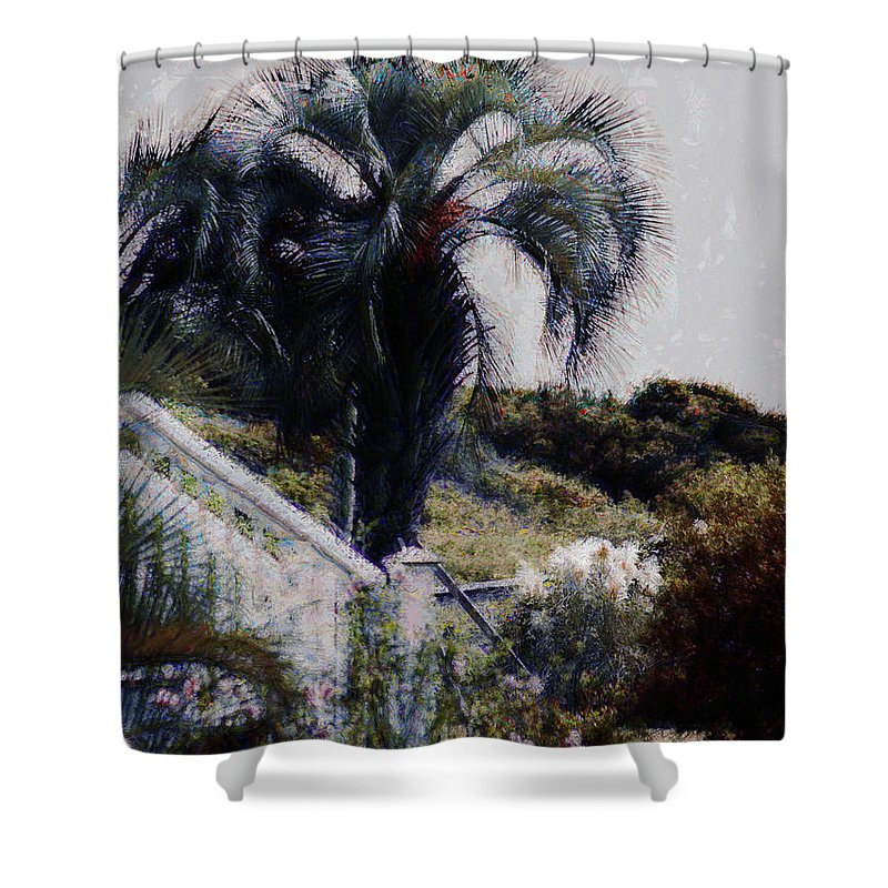 Palmetto Tree Shower Curtain featuring the photograph Palmetto Beach by Donna Bentley