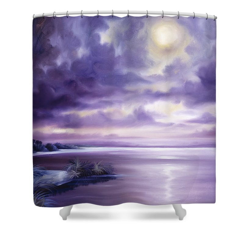 Moon Shower Curtain featuring the painting Palmetto Moonscape by James Christopher Hill