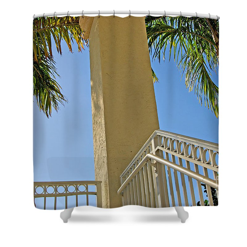 Palm Shower Curtain featuring the photograph Palms and Stairs by Zal Latzkovich