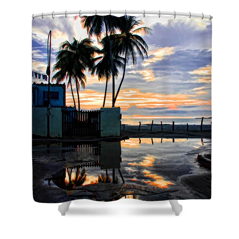 Palms Shower Curtain featuring the photograph Palms And Sunshine by Galeria Trompiz