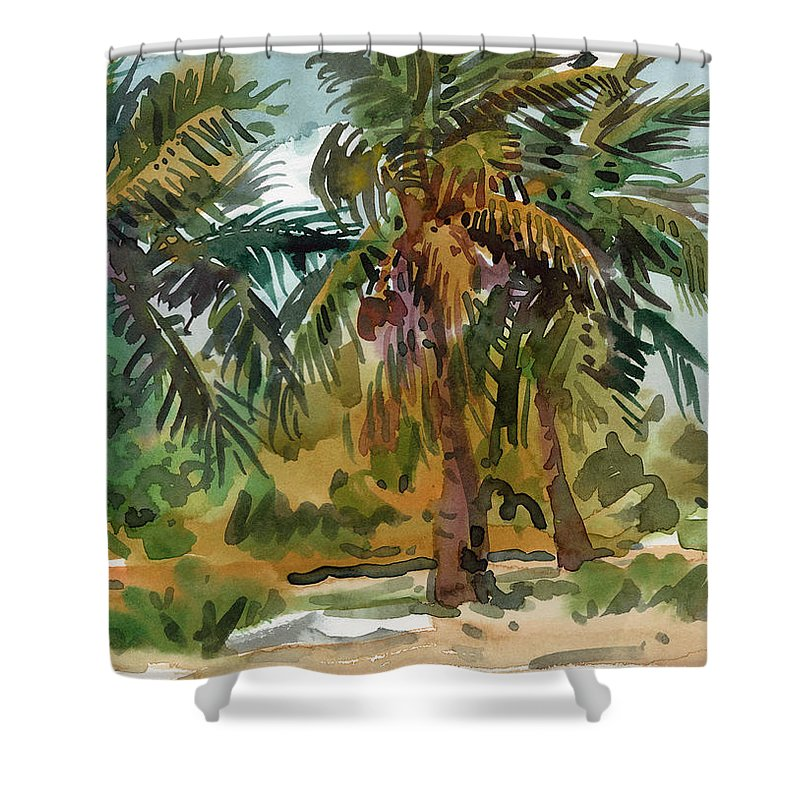 Palm Tree Shower Curtain featuring the painting Palms In Key West by Donald Maier