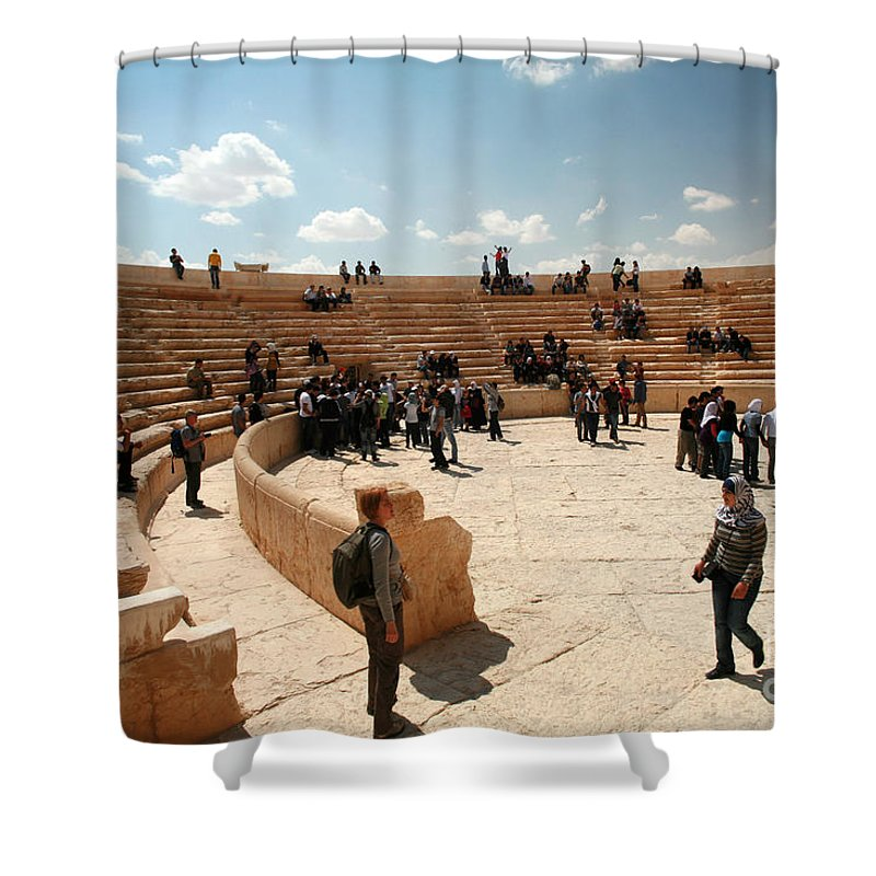 Syria Shower Curtain featuring the photograph Palmyra-theater by PJ Boylan