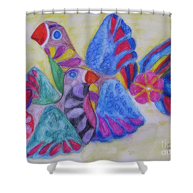 Bright Colors Shower Curtain featuring the painting Palomas - Gifted by Judith Espinoza