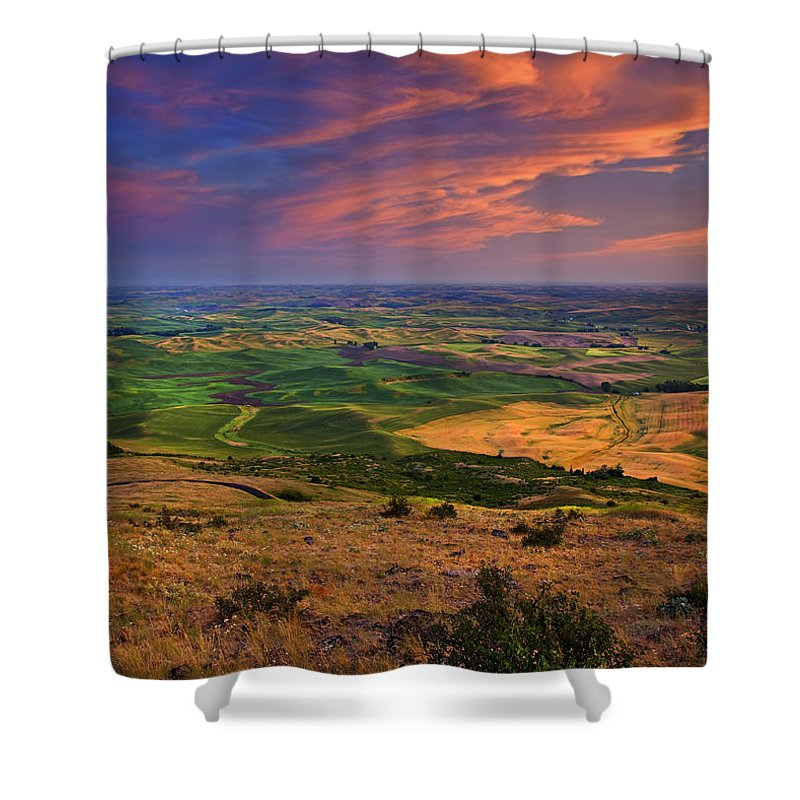 Palouse Shower Curtain featuring the photograph Palouse Skies Ablaze by Mike Dawson