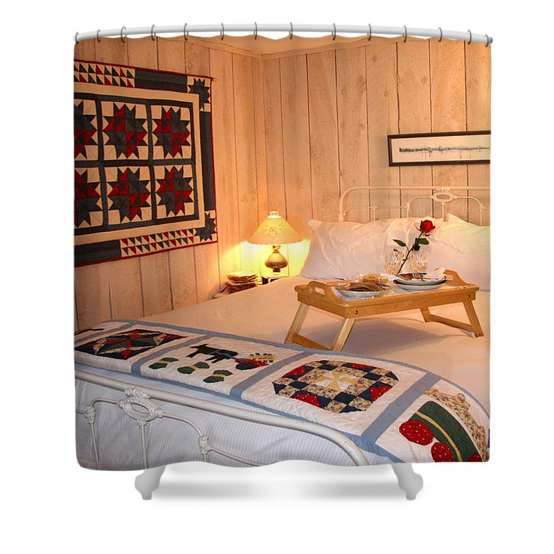 Bed And Breakfast Shower Curtain featuring the photograph Pampered At The Loghouse by Amelia Painter