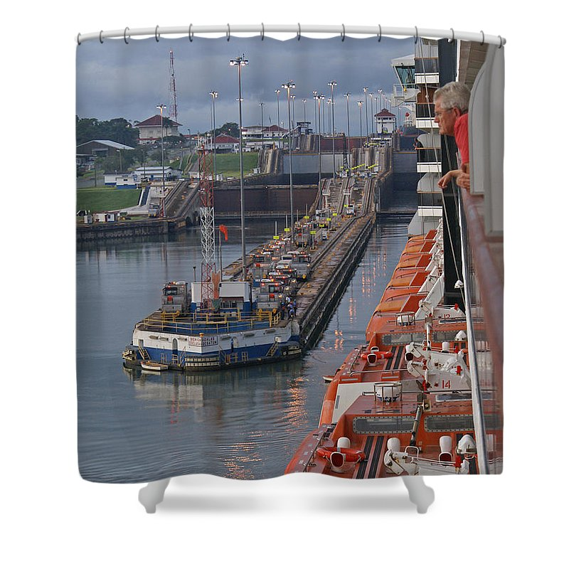 Panama Shower Curtain featuring the digital art Panama Canal by Heather Coen