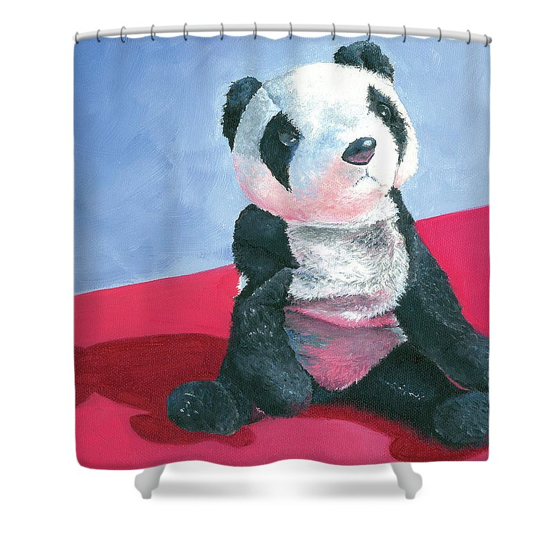Panda Shower Curtain featuring the painting Panda 1 by Elise Aleman