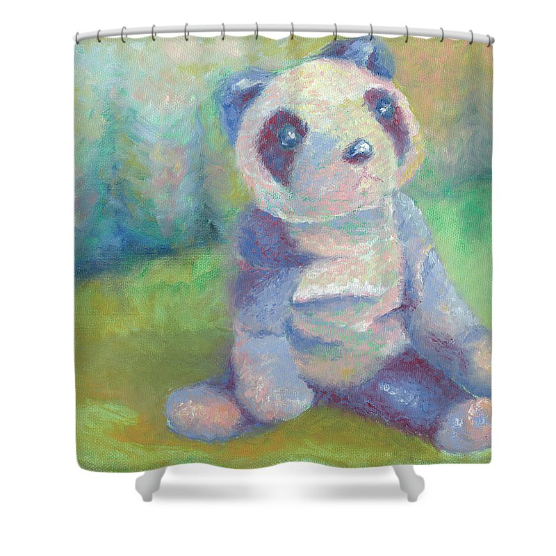 Panda Shower Curtain featuring the painting Panda 2 by Elise Aleman