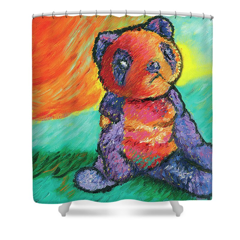 Panda Shower Curtain featuring the painting Panda 3 by Elise Aleman
