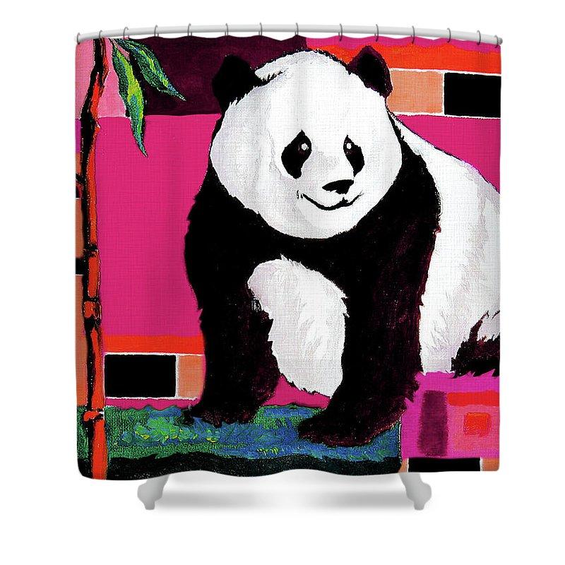 Panda Shower Curtain featuring the painting Panda Abstrack Color Vision by Alban Dizdari