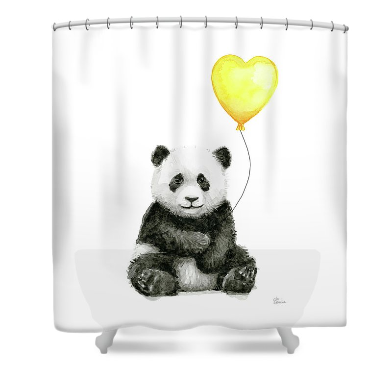 Baby Panda Shower Curtain Featuring The Painting With Yellow Balloon By Olga Shvartsur