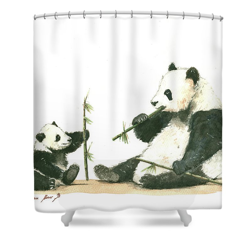 Panda Shower Curtain Featuring The Painting Family Eating Bamboo By Juan Bosco