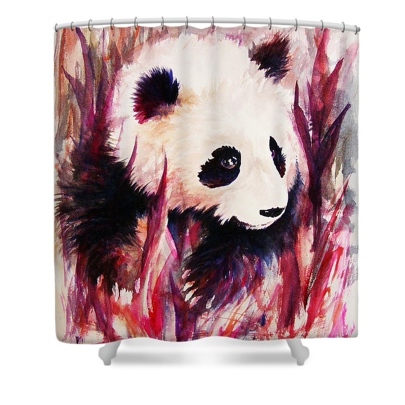 Panda Shower Curtain featuring the painting Panda by Rachel Christine Nowicki