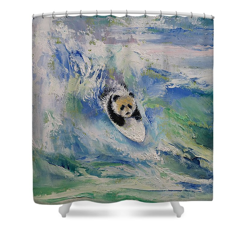 Panda Surfer Shower Curtain For Sale By Michael Creese