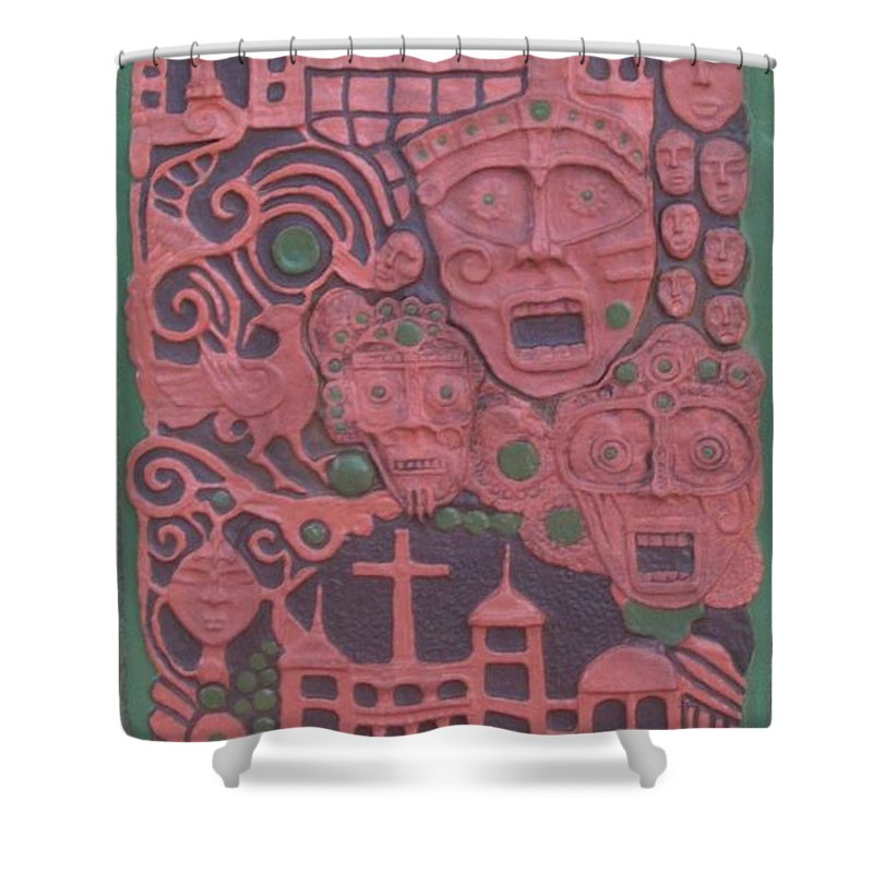 Handmade Shower Curtain featuring the mixed media Pandora's Box by Otil Rotcod