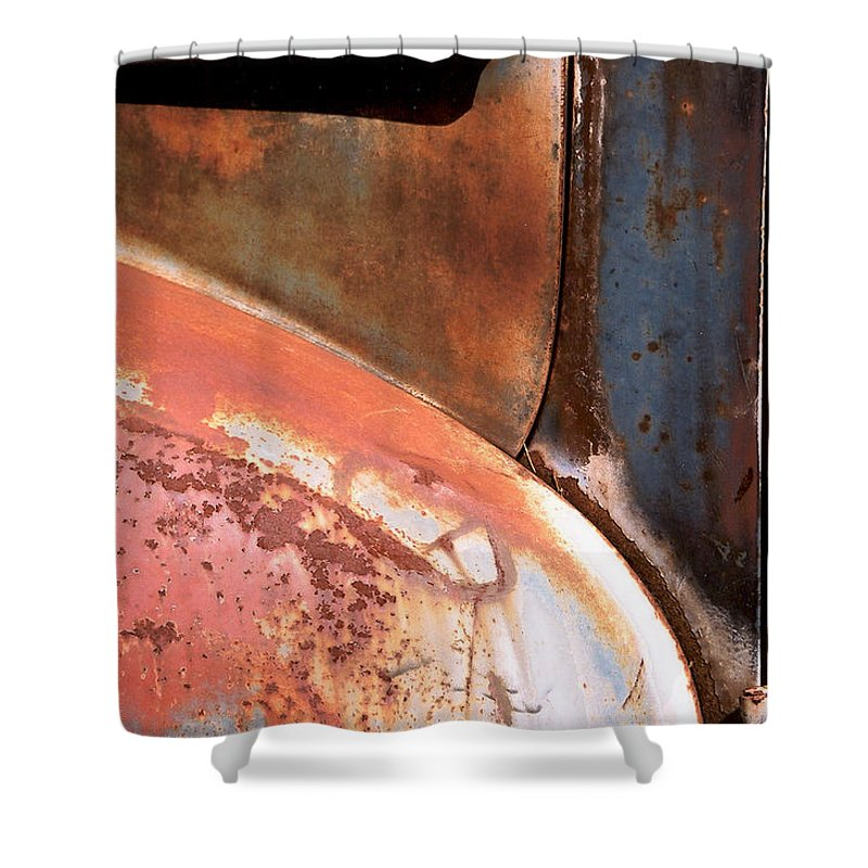 Abstract Shower Curtain featuring the photograph Panel From Ole Bill by Steve Karol