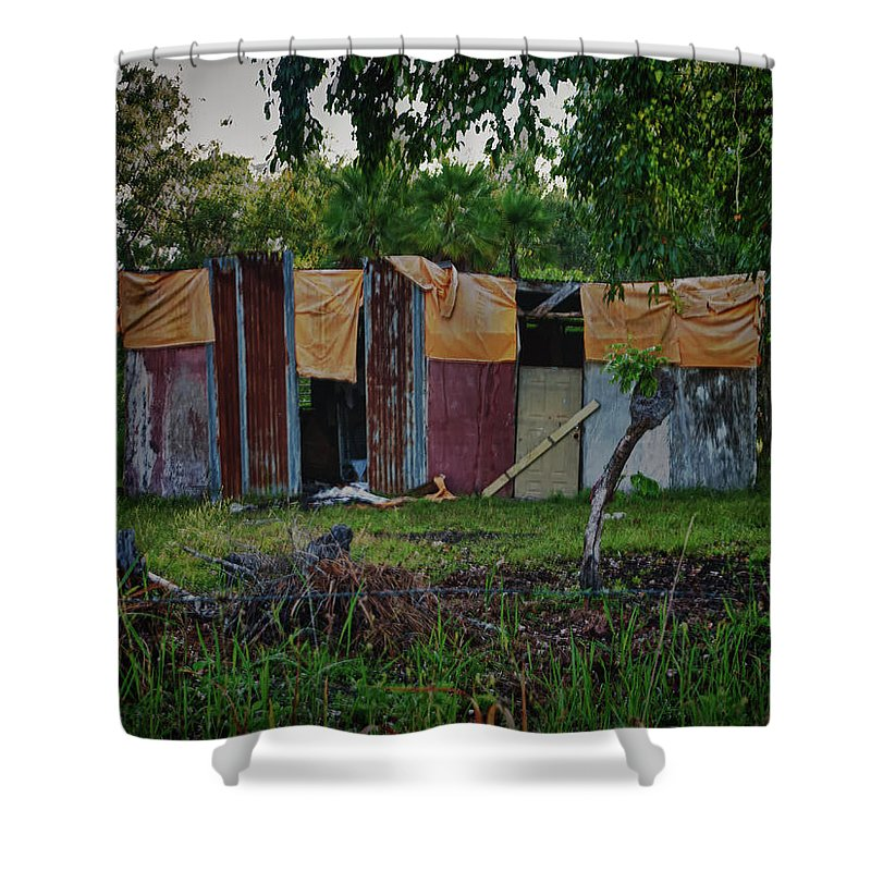 Makeshift Shower Curtain featuring the photograph Panel House by Jessica Levant