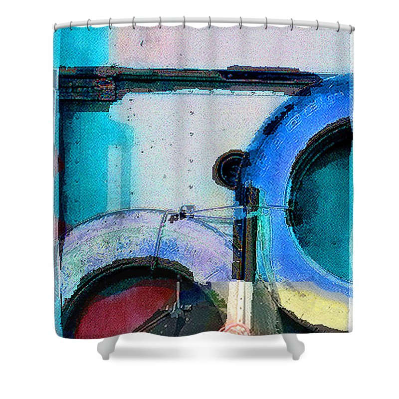 Abstract Shower Curtain featuring the photograph panel three from Centrifuge by Steve Karol