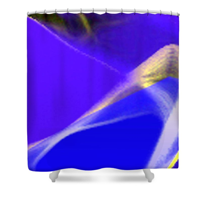 Abstract Shower Curtain featuring the digital art panel three from Movement in Blue by Steve Karol
