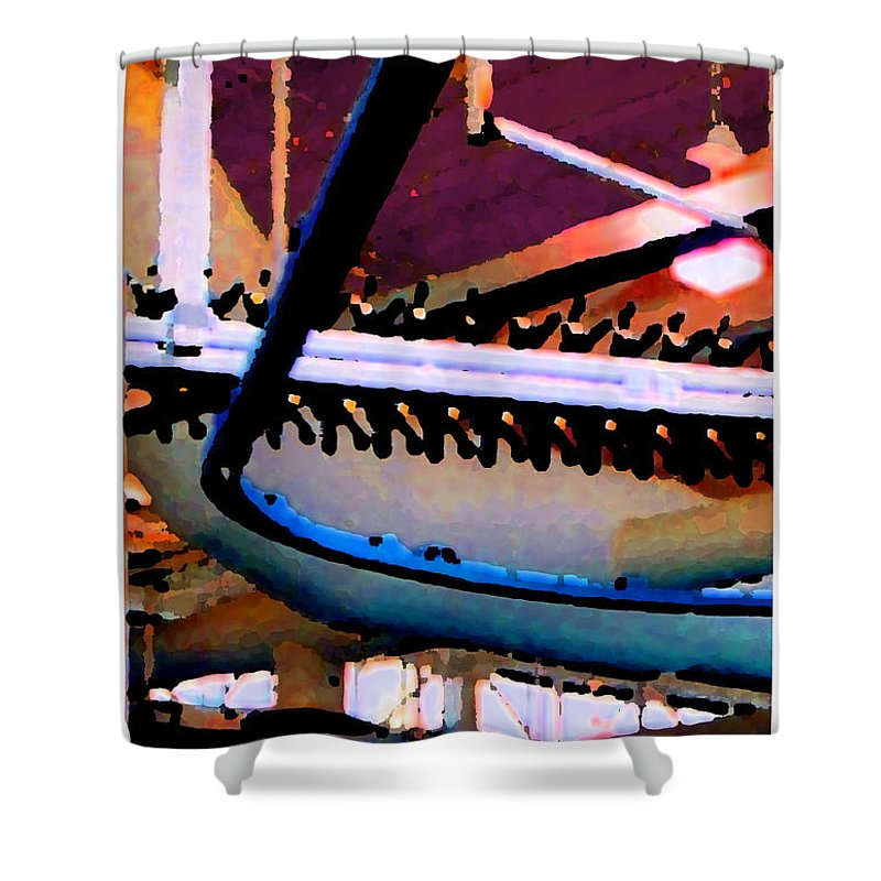 Abstract Shower Curtain featuring the photograph Panel Three From Star Factory by Steve Karol