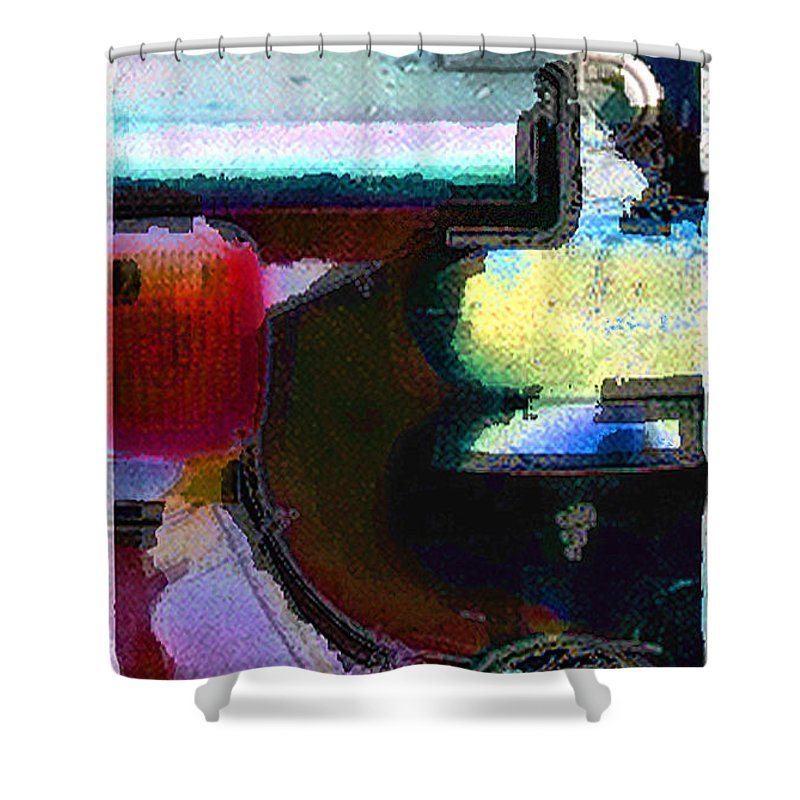 Abstract Shower Curtain featuring the photograph panel two from Centrifuge by Steve Karol