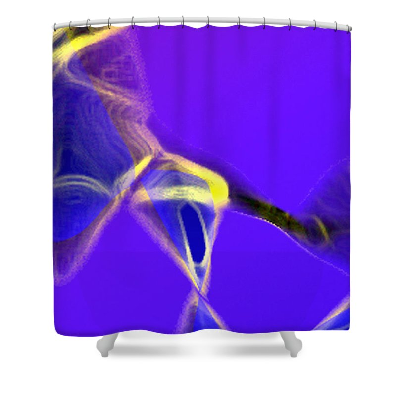 Abstract Shower Curtain featuring the digital art panel two from Movement in Blue by Steve Karol