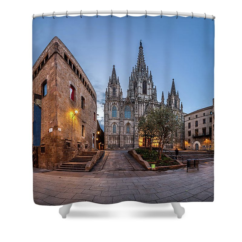 Ancient Shower Curtain featuring the photograph Panorama Of Cathedral Of The Holy Cross And Saint Eulalia In The by Andrey Omelyanchuk