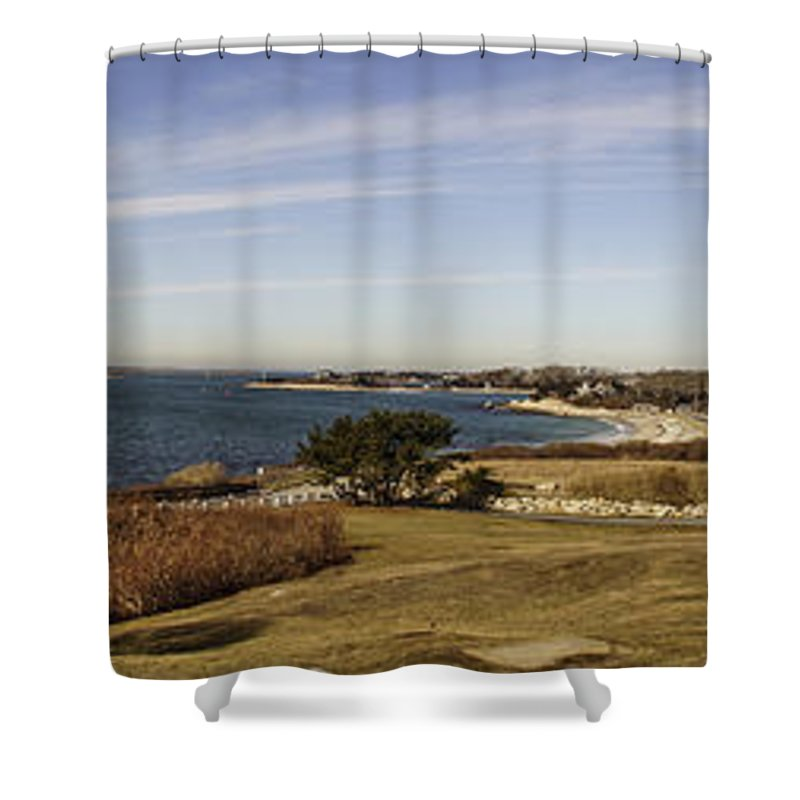 Woods Hole Shower Curtain featuring the photograph Panoramic Of Woods Hole by Mike Poland